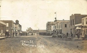 Rosetown Canada Main Street Storefronts Old Cars Real Photo Postcard