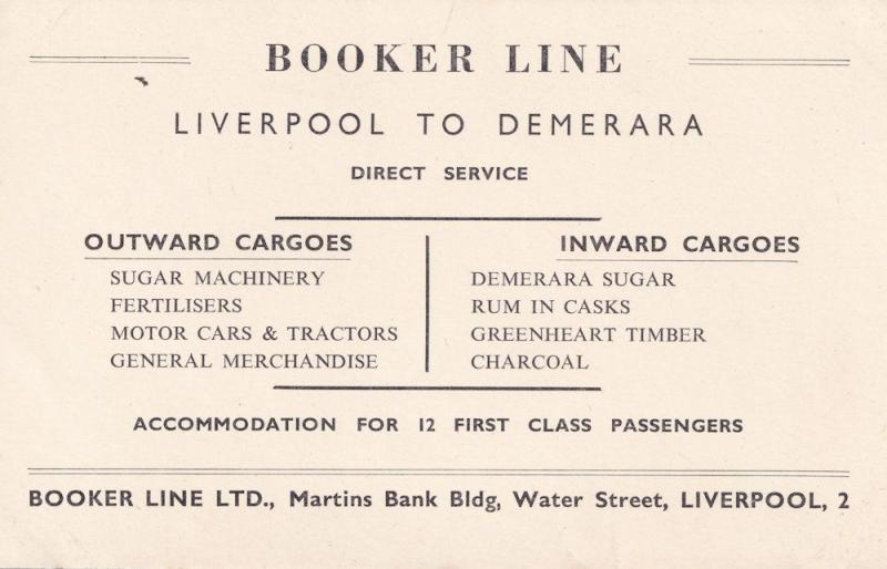 Booker Line Liverpool Docks to Demerra Ship Advertising Postcard