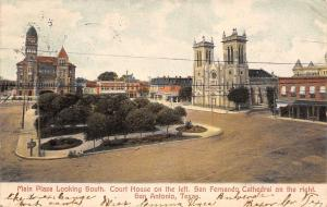 San Antonia Texas~Plaza Looking South Court House San Fernando Cathedral~1907 PC