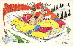 Lot 34 usa deer driving car hunting human attitude bob petley  artist signed