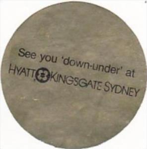 AUSTRALIA SYDNEY HYATT KINGSGATE HOTEL VINTAGE LUGGAGE LABEL
