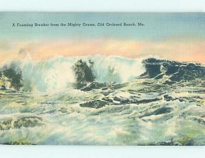 Linen ROUGH WAVES ON SHORELINE Old Orchard Beach Maine ME AD6514