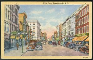 Poughkeepsie NY Main Street 1937 Vintage Curteich Linen Postcard
