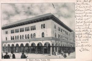 St. Mark's Hotel, Venice, California, early postcard, used in 1906