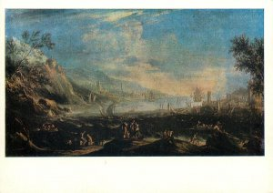 Russia Painting art Drawing Postcard art  coastal landscape army on shore
