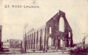 CHELSEA, MA RUINS OF ST ROSE CHURCH AFTER GREAT FIRE OF 1908