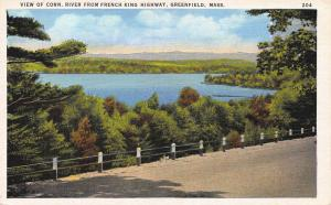 Conn. River from French King Highway, Greenfield, MA.,  Early Postcard, Unused