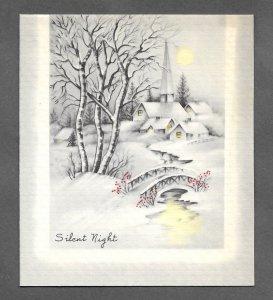 VINTAGE 1940s WWII ERA Christmas Greeting Card Art Deco SILENT NIGHT SNOW CHURCH