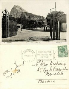 Gibraltar, Frontier Gates and Police Hut (1936) RPPC Postcard
