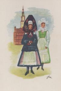 Morris Folk Dancing Style Polish Poland Traditional Costume Antique Postcard