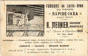 PC CPA ADVERTISING, A. MEUNIER, FABRIQUE DE LATTIS-ARMÉ, POSTCARD (b9848)