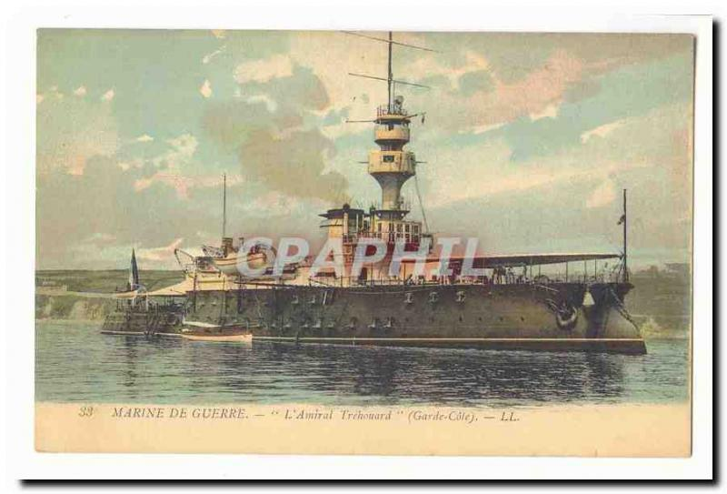 Navy Vintage Postcard the admiral Trehouard (dimension keeps)