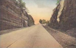 New York Canandaigua The Rock Cut on State Highway Below Handcolored Albertype