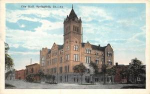 Springfield Illinois 1920s Postcard City Hall