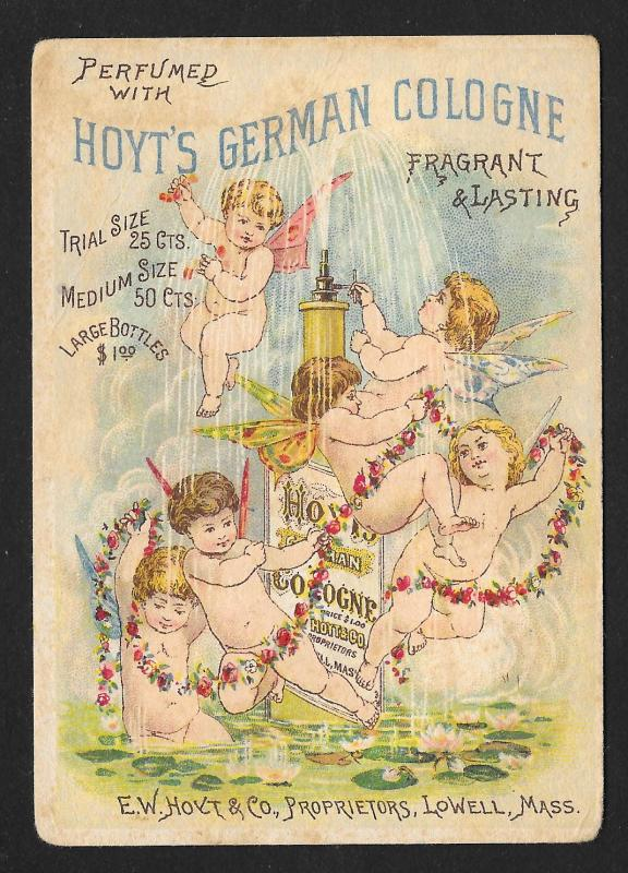 VICTORIAN TRADE CARD Hoyts German Cologne Cupids at Pond