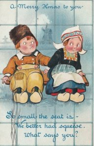A Merry Xmas to you, 1915; Dutch couple sharing bench