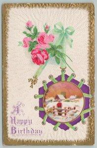 Flowers Greetings~Roses~Boy Behind Fence~Gold Border~c1910 Postcard