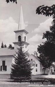 Maine Andover Congregational Church & School House  Real Photo RPPC