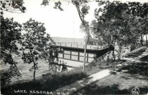Lake Kegonsa Wiscosin~Water Observation Deck~Steps Down~Path Around~1940s RPPC