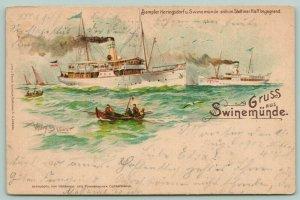 Gruss Aus Swinemünde~Heringsdorf~Steamers & Rowboats~Artist Signed 1902 Postcard