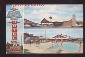 TULSA OKLAHOMA ROUTE 66 SARATOGA MOTEL SWIMMING POOL CARS OLD POSTCARD