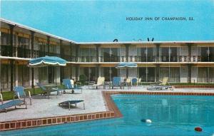 Champaign Illinois~Holiday Inn~Poolside~1962 Postcard