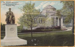 Kenosha, WIS., Lincoln Monument & the Simmons Library - 1913