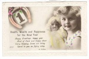 RP; Hand-colored, Cloe-up of girl with doll, Health, wealth and happiness for...