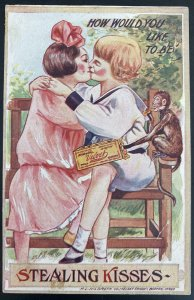 Mint USA Advertising Picture Postcard Velvet Candies Stealing Kisses