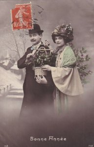RP: NEW YEAR, PU-1911; Couple with Flower basket