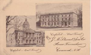 CONCORD, New Hampshire; Capitol - East Front, West Front, J. M Stewart & Sons...