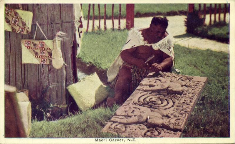 new zealand, Native Maori Carver at Work (1920s) Postcard