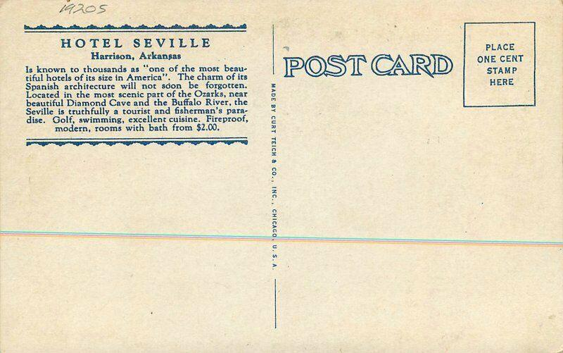 Autos Harrison Arkansas 1920s Hotel Seville Postcard roadside Teich 3870