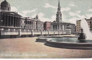 The National Gallery & St. Martin's Church, Waterfountain, LONDON, England, U...