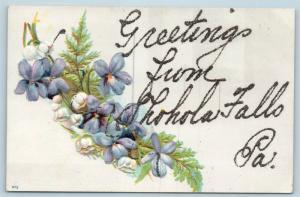 Postcard PA Shohola Falls Glitter Floral Greetings From Shohola Falls Pike Co Q4