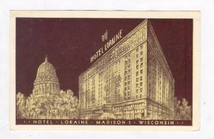 Hotel Lorraine @ Night,Madison,WI / Wisconsin 1955 PU