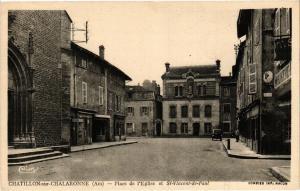 CPA AK CHATILLON-sur-CHALARONNE Place l' Église et St-Vincent-de-PAUL (486196)