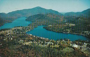 New York Adirondacks Aerial View Of Mirror Lake and Lake Placed Village 1961