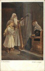 Medieval - Queen Girl & Harp - Music SETKOWICZ Stary Lyrnik c1910 Postcard