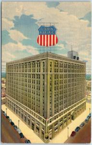 Union Pacific Railroad Postcard HQ Building Omaha Nebraska Street View Linen