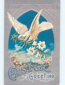 Unused Div-Back LARGE WHITE DOVE BIRD WITH EASTER LILY FLOWER IN BEAK o6686