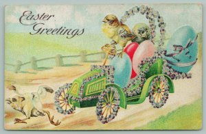 Easter Fantasy~Chick Drives Auto~Runs Flapping Chick Off Road~Violets~Eggs~Emb