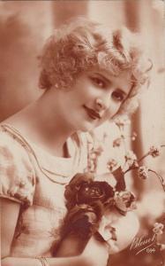 Woman portrait photo postcard royalty franking Romania infant king Michael