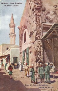 PC CPA LIBIA, TRIPOLI, ARCO TRIONFALE DI MARCO AURELIO, Postcard (b16648)