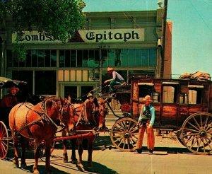 Tombstone Arizona Az The Epitaph Stagecoach Unp Vtg Cromo Tarjeta Postal