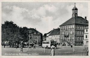 Germany Bischofswerda Marktplatz mit Rathaus 02.68