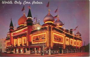 Mitchell, South Dakota World's Only Corn Palace Night View Vintage Postcard