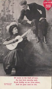 LEAP YEAR, PU-1908; Rhyme, Woman serenading man sitting on a fence with a guitar