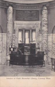 Massachusetts Conway Interior Of Field Memorial Library