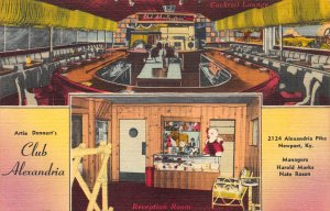 Artie Dennert's Club Alexandria, Newport, Kentucky, Early Linen Postcard, Unused